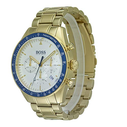 a0dae6b1aa4 Hugo Boss Watch Mens Chronograph Quartz Watch with Gold Plated Strap  1513631  Amazon.co.uk  Watches