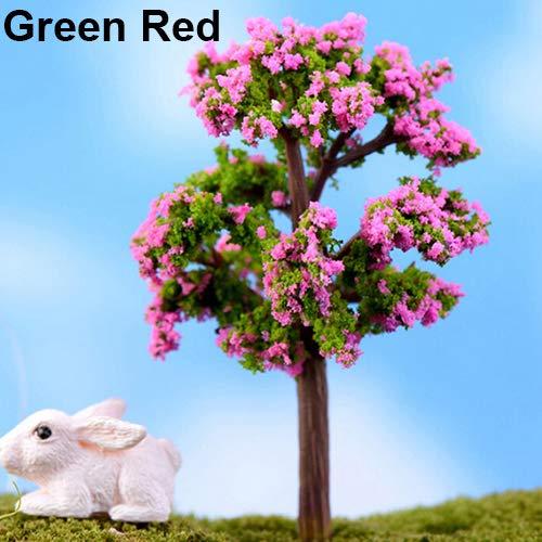 yanQxIzbiu Garden Resin Decor, Miniature Sakura Plum Willow Tree Plants Fairy Garden Accessories Dollhouse Ornament - Green Red