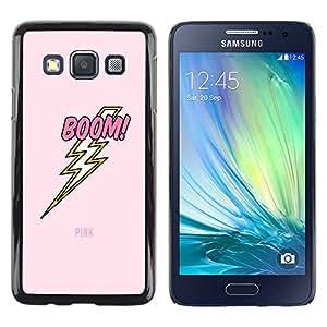 Paccase / SLIM PC / Aliminium Casa Carcasa Funda Case Cover - Electric Jolt Lightning Pink Text - Samsung Galaxy A3 SM-A300