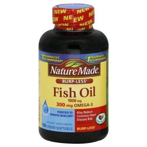 Nature Made huile Burp-moins de poissons, 1000 mg, 300 mg d'oméga-3, 150 gélules liquides