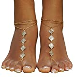 Bellady Womens Vintage Boho Foot Chain Golden Coin Blessing Symbol Toe Ring Anklets Beach Barefoot Sandals Foot Jewelry, Golden Style 2