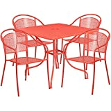 "Flash Furniture 35.5"" Square Coral Indoor-Outdoor Steel Patio Table Set with 4 Round Back Chairs For Sale"