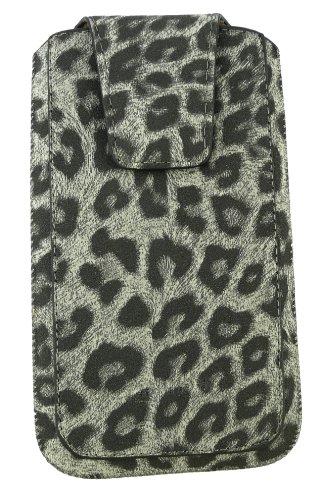 Emartbuy® Stylus Pack Para HTC Desire 600 Classic Range Faux Suede Leopardo Gris Slide En La Bolsa / Caja / Manga / Titular (Tamaño 3Xl) Con Magnético De La Aleta & Pull Tab + Mecanismo Metálico Mini