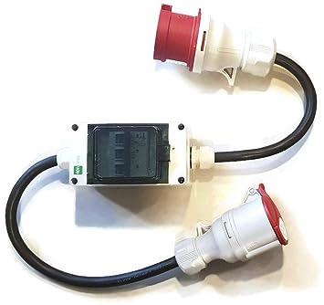 CEE Adapter Starkstrom Stecker 32A CEE auf Kupplung 16A CEE mit Sicherung C-16