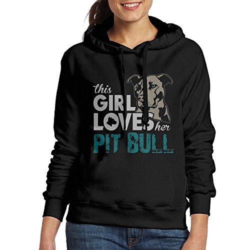 This Girl Loves Her Pit Bull Women Classic Pullover Print Hoodie Hooded Sweatshirt With Drawstring (Bull Kids Hooded Sweatshirt)