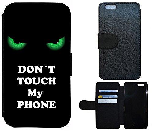 Schutz Hülle Flip Cover Handy Tasche Etui Case für (Apple iPhone 6 / 6s, 2000 Don´t Touch My Phone Grün Schwarz)
