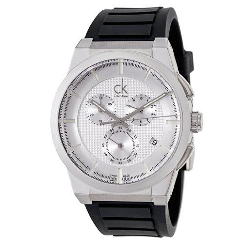Calvin Klein Men's 'Dart' Swiss Quartz Stainless Steel and Rubber Casual Watch, Color:Black (Model: K2S371D6)