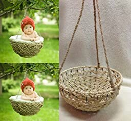 Newborn baby infant photography prop handmade woven basket D-2