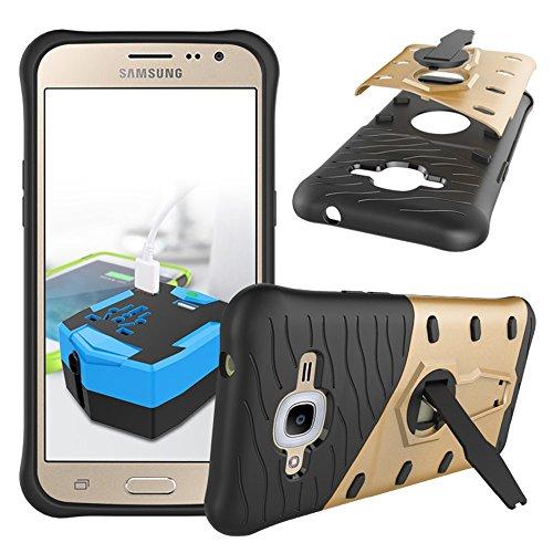Carcasas y fundas Móviles, Para Samsung Galaxy J2 2016 J210 Case, Híbrido resistente resistente blindaje de armadura de doble capa protectora a prueba de golpes con 360 grados ajuste Kickstand cubiert Gold