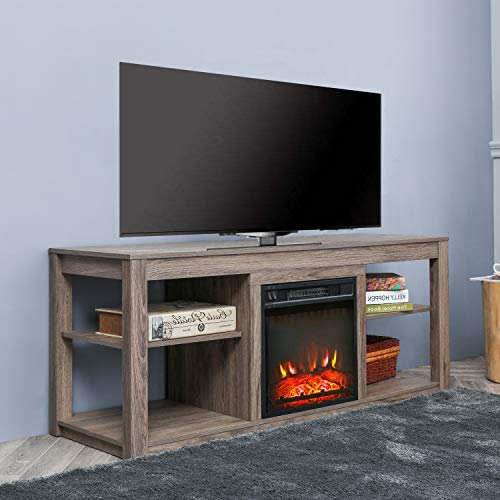 Top Space Electric Fireplace TV Stand Entertainment Center Corner Electric Fireplace Console Fireplace Heater for TVs up to 70 ,Wooden Electric Fireplace TV Stand,Natural