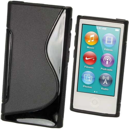 Ipod 3g Hard Skin (iGadgitz Dual Tone Black Durable Crystal Gel Skin (TPU) Case Cover for Apple iPod Nano 7th Generation 7G 16GB + Screen Protector)