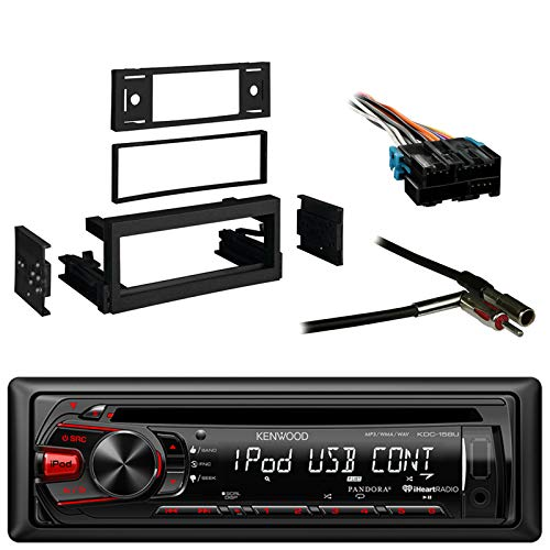 Kenwood In-Dash Single-DIN CD Player AUX Car Stereo Receiver with Metra Dash Kit For GM Truck And Van 95-05, Metra Radio Wiring Harness and Metra Antenna - Kenwood Indash Cd Player