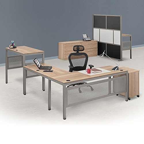 Desk Ash Executive (At Work Executive L-Desk Suite in Warm Ash Warm Ash Laminate Surface/Brushed Nickel Frame Weight: 538 lbs.)