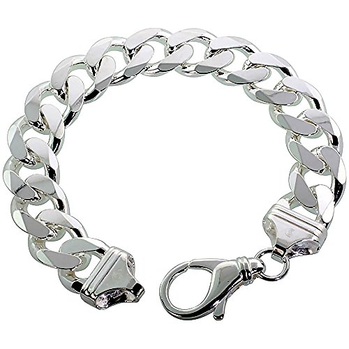 Sterling Silver Thick Cuban Curb Link Chain Bracelet 14.3mm Beveled Edges Nickel Free Italy 10 inch