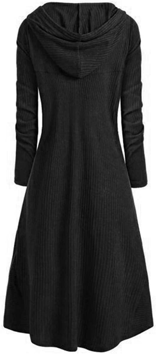 LATH.PIN Hooded Cloak Women Vintage Medieval Long Sleeve Casual Cosplay Dress with Pullover Coat Oversized Irregular Clothes Solid Color Black