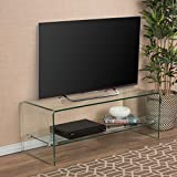 Luxury Design Tempered Glass Entertainment TV Console Stand with Shelf, Home Decor