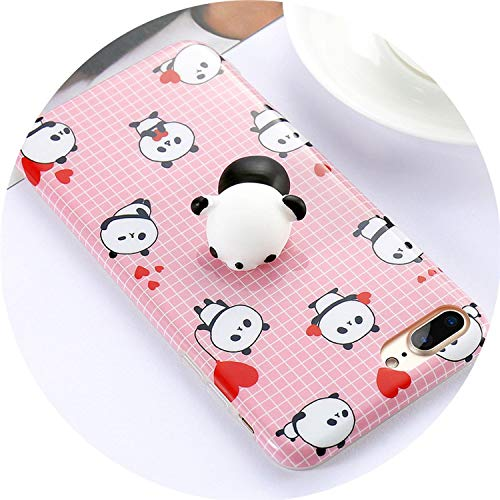 crazy-shop for iPhone 6 6S 7 8 Plus Case Squishy Mobile Phone Cases Cute Cat 3D Kneading Cover for iPhone 5 5S SE X 10 Funda Shell,Panda,for iPhone 6 6S