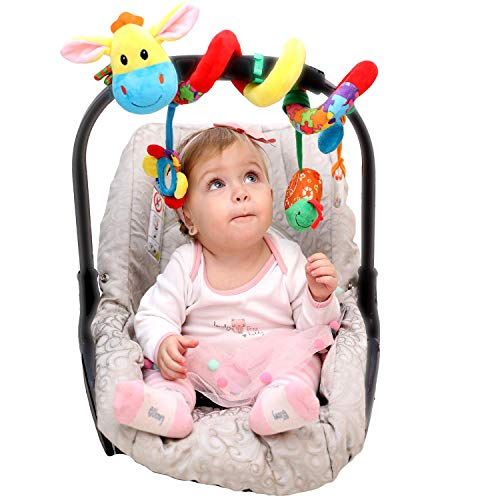 Carseat Toys for Infants Boys Girls - Stroller Toy - Car Seat Toy - Crib Toy - Spiral Baby Hanging Activity Toys (Car Seat Toys Organic)