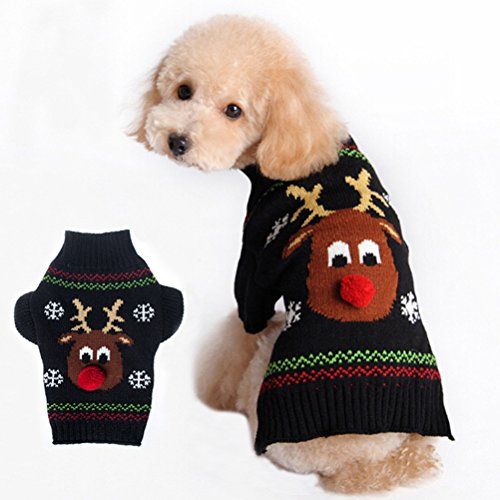 [Buytra Christmas Reindeer Winter Pet Clothes Sweater for Small Dogs Cats Puppy Kitten,Black,S] (Dachshund Christmas Costumes)