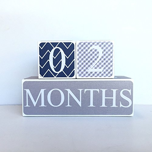 Navy and Gray Baby Age Blocks, Milestone Blocks, Photo Prop, Countdown Blocks