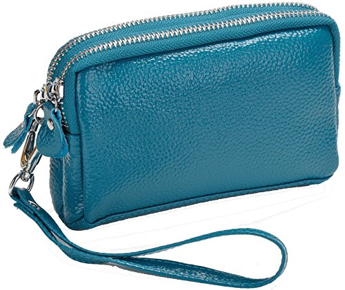 Clutch Double Leather Small Organizer Coin Wallet Zippered Purse Blue Strap with Wrist s Pockets Pouch Women�� Heshe R0xwqEtRX