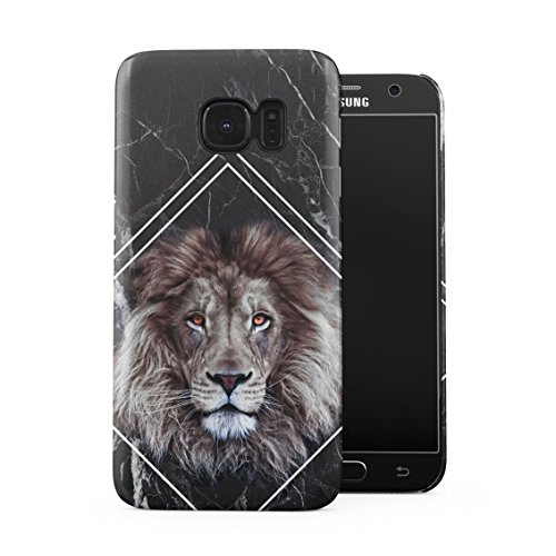 Jungle Safari King Lion Mane Head Black Marble Block Plastic Phone Snap On Back Case Cover Shell For Samsung Galaxy S7