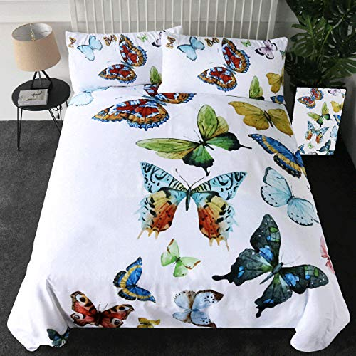 Sleepwish Butterfly Bedding Flying Dreams 3 Pieces Super Soft Butterfly Collection Duvet Cover Set (Queen) (Butterfly Next Bedding Sets)