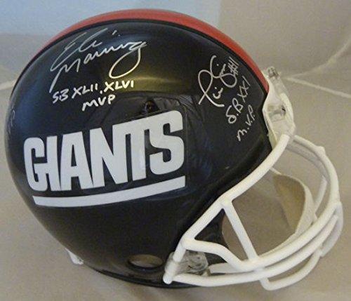New York Giants Super Bowl MVPs Autographed Full Size Proline Helmet (Manning, (Autographed Giants Pro Line Helmet)