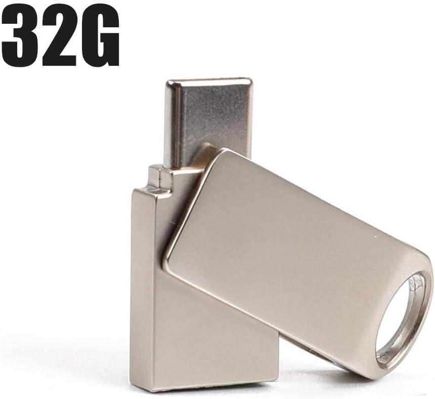 32GB USB3.0 Type-C Flash Memory Disc Rotary Dual Plug Memory Pen Stick Drive for Mobile Computer