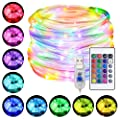 Marvee LED Rope Lights, 33ft RGB Outdoor Color Changing String Lights with 100 LEDs, 4 Modes 16 Colors USB Powered Rope Tube Light with Remote, Waterproof, for Christmas Party Indoor Outdoor Decor