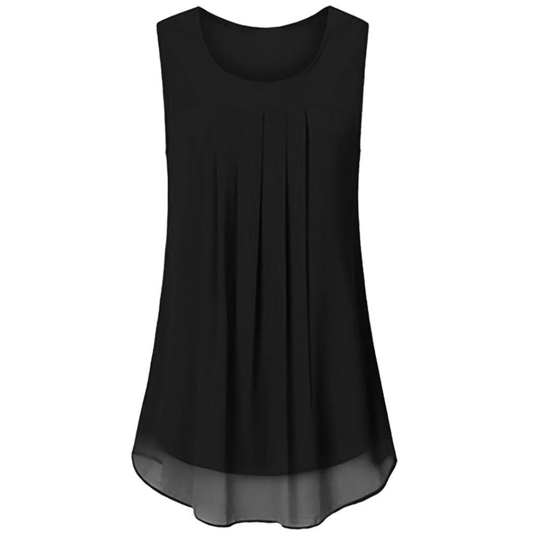 OverDose Damen Sommer Ärmellos O-Ausschnitt Casual Chiffon Solide Weste Bluse Tank Tops Camis Frauen T Shirt Tees
