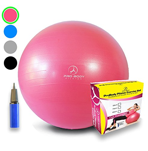 Exercise Ball - Professional Grade Anti-Burst Yoga Fitness, Balance Ball for Pilates, Yoga, Stability Training and Physical Therapy (Pink, 55cm)