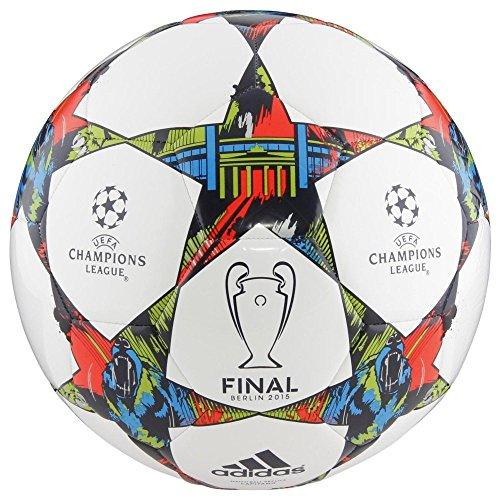電話をかける忘れる月AdidasパフォーマンスFinale Berlin Capitanoサッカーボール、ホワイト/ソーラーブルー/フラッシュグリーン、サイズ3