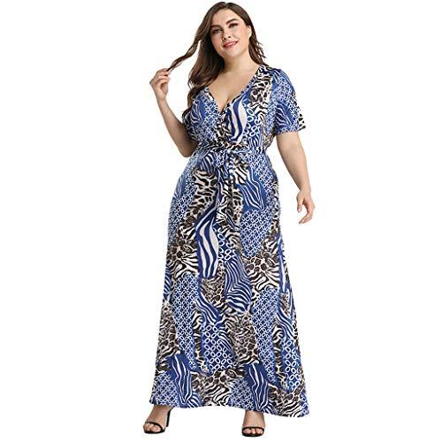 CCatyam Plus Size Dresses for Women, Skirt V-Neck Print Long Maxi Sexy Loose Party Fashion - Applicators Wood Petite