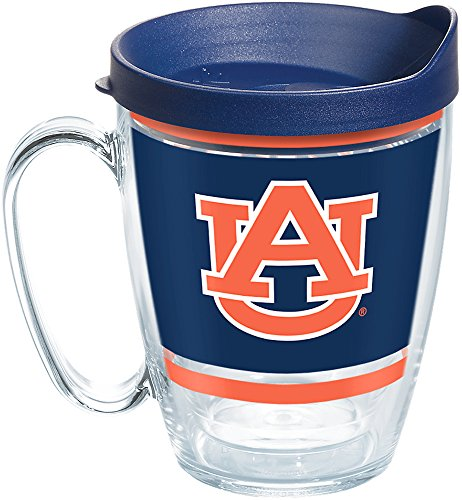 Tervis 1257455 Auburn Tigers Legend Insulated Tumbler with Wrap and Lid, 16oz Mug, Clear