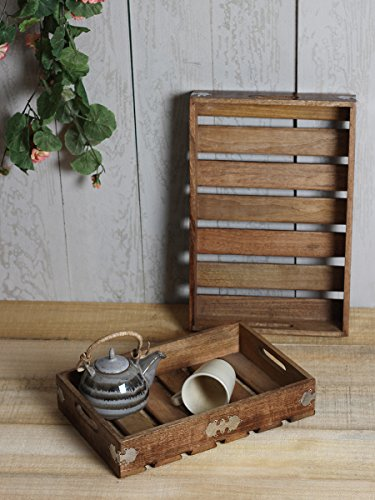 Country Style Wooden Serving Tray Platter Set of 2 Large Small for Tea Snack Desert Kitchen Dining Parties Serveware Accessories (Halloween Finger Food For Adults)