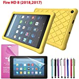 """EpicGadget Case for Amazon Fire HD 8 2018/2017 Silicone (8th and 7th Generation, 2018 and 2017 Release) Slim Anti-Slip Soft Rubber Silicone Gel Case Cover For Fire HD 8, 8"""" HD Display Tablet (Yellow)"""