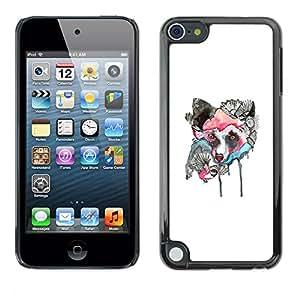 Caucho caso de Shell duro de la cubierta de accesorios de protección BY RAYDREAMMM - Apple iPod Touch 5 - Lobo japonesa