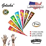 MAMAR Premium India Henna Tattoo Cone Kit - 7pc Temporary Tattoo Body Art and Painting Set - Natural Organic Fresh Authentic Ink Paste - 7 Different Colors - Bonus Stencil Designs Included
