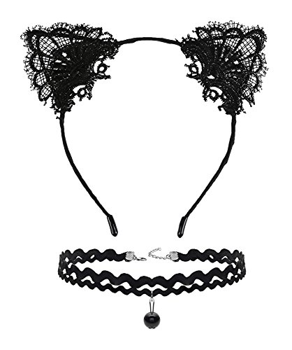 DreamLily Lace Cat Ears Hair Band Fancy Dress headpiece with Chorker Necklaces Set MD-02