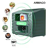 Anmago Animal Repellent Ultrasonic, Outdoor Electronic Pest Animal Control, with Motion Sensor For Repelling Raccoon Dogs Cats Chipmunk Squirrels Deer Rabbits Birds, Nontoxic, EcoFriendly, UPGRADED ()