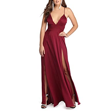 QueenDress Burgundy Double Slit Satin A Line Prom Dress at Amazon ...