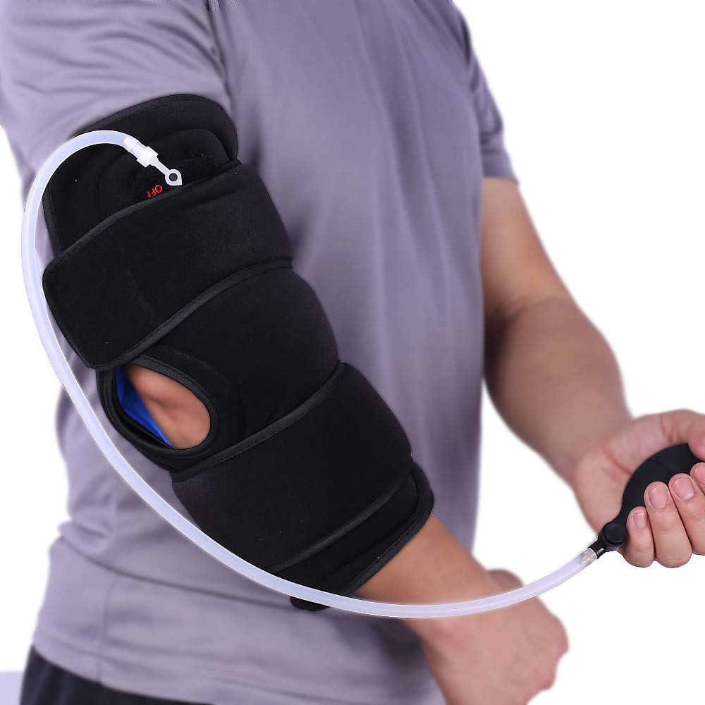 Hot/Cold Therapy & Air Compression Elbow Support Wrap for Alleviating Elbows Pain Arthritis Swelling Tendonitis Sprains Joint Injuries and Increase Circulation