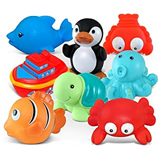 Puzzled Bath Buddies Collection - red Crab, Cartoon Dolphin, Ship, Turtle, Octopus, Orange Reef Fish, Penguin and Lobster, Set of 8