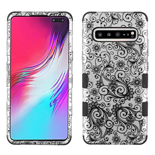 Phonelicious Samsung Galaxy S10 5G Design Case Military Grade 3-Layer Armor Hybrid Rugged Silicone Heavy Duty Phone Cover (Black Swirl)