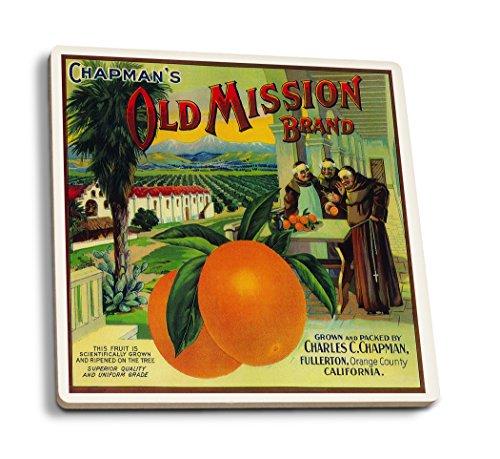 Orange County Halloween Bars (Old Mission Orange - Vintage Crate Label (Set of 4 Ceramic Coasters - Cork-Backed,)