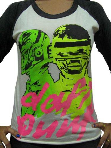 Bunny Brand Women's Daft Punk DJ Electronic Techno Punk emo Rock Raglan T-Shirt,White,Small