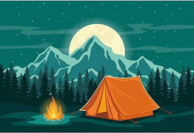 CSFOTO 12x8ft Wild Hiking Tools Backdrop Camping Theme Party Climbing Rope Telescope Compass Tableware Map Scout Training Background for Photography Adults Portrait Vinyl Wallpaper