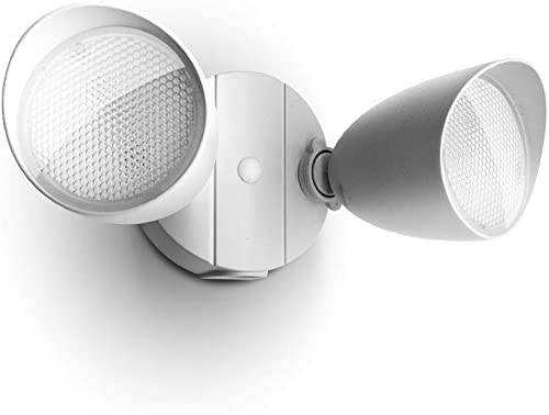 Lutec 6222W 1380 Lumen 23 Watt 26 LED Dual-Head Floodlight Outdoor, Waterproof Exterior Security Wall Light for Patio, Garden, Yard-White Renewed