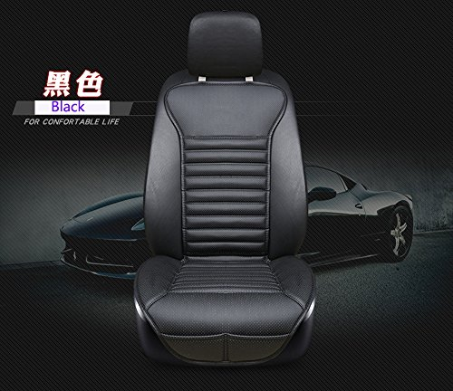 (EDEALYN New Universal car seat Cover PU Leather + Bamboo Charcoal Car Seat Cushion Car seat backrest pad - Car Interior Accessories,1 PCS (Black-B))